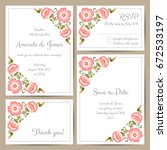 set of wedding cards with hand... | Shutterstock .eps vector #672533197