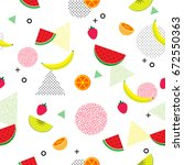 summer and tropical fruits on... | Shutterstock .eps vector #672550363