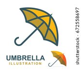 umbrella logo  illustration and ... | Shutterstock .eps vector #672558697