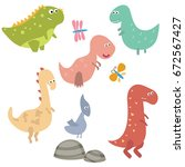 set of different dinosaurs on... | Shutterstock .eps vector #672567427