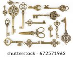 vintage keys collection... | Shutterstock . vector #672571963