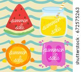 summer sale with fruit elements | Shutterstock .eps vector #672575263