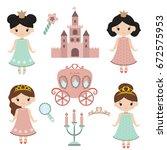 little princesses set. princess ... | Shutterstock .eps vector #672575953