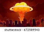 downtown city center... | Shutterstock .eps vector #672589543
