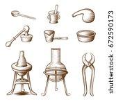 set of midieval lab equipment   Shutterstock .eps vector #672590173