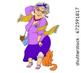 big fashion grandmother with... | Shutterstock .eps vector #672591817