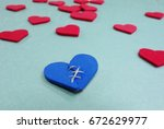 blue stitched broken heart and... | Shutterstock . vector #672629977