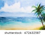 watercolor seascapes... | Shutterstock . vector #672632587