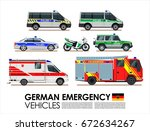german emergency cars vehicles... | Shutterstock .eps vector #672634267