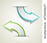 two curved circle arrow ribbon. ... | Shutterstock .eps vector #672644647