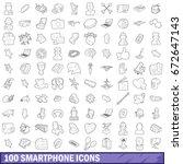 100 smartphone icons set in...   Shutterstock . vector #672647143