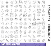 100 fauna icons set in outline... | Shutterstock . vector #672654373