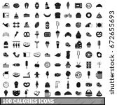 100 calories icons set in... | Shutterstock . vector #672655693