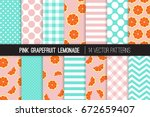 pink grapefruit and aqua blue... | Shutterstock .eps vector #672659407