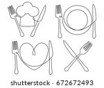 cutlery and plate one line... | Shutterstock .eps vector #672672493
