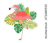 illustration of flamingo with... | Shutterstock .eps vector #672680533