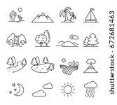 landscape  thin monochrome icon ... | Shutterstock .eps vector #672681463
