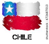 flag of chile from brush... | Shutterstock .eps vector #672687013