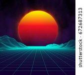 retro background futuristic... | Shutterstock .eps vector #672687313