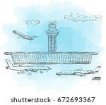 airport  aircraft. sketch....   Shutterstock .eps vector #672693367