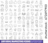 100 viral marketing icons set... | Shutterstock . vector #672697903