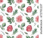 seamless watercolor pattern... | Shutterstock . vector #672701137