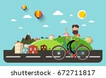 man on bicycle with flat design ... | Shutterstock .eps vector #672711817
