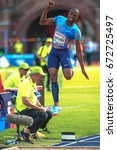 Small photo of STOCKHOLM, SWEDEN - JUNE 18, 2017: Luvo Manyonga (RSA) in the mens longjump at the IAAF Diamond leauge Bauhaus Galan at Stockholm stadion.