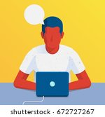 person sitting in front of... | Shutterstock .eps vector #672727267