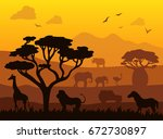 africa safari landscape vector... | Shutterstock .eps vector #672730897