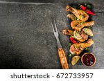 summer food. ideas for barbecue ... | Shutterstock . vector #672733957