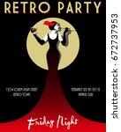 retro party invitation card.... | Shutterstock .eps vector #672737953