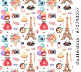 beautiful seamless pattern with ... | Shutterstock . vector #672743557