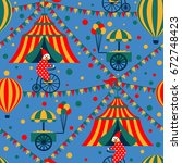 circus tent and clown. seamless ... | Shutterstock .eps vector #672748423