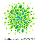 green leaves round cloud... | Shutterstock . vector #672797707