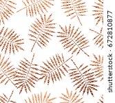copper tropical leaves seamless ... | Shutterstock .eps vector #672810877