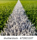 green color soccer field the... | Shutterstock . vector #672821107