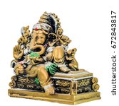 Small photo of ganesh chaturthi isolated, lord ganesh statue on white background left view