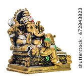Small photo of ganesh chaturthi isolated, lord ganesh statue on white background right view
