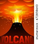 volcano eruption. vector... | Shutterstock .eps vector #672858643