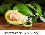 fresh green avocados and...   Shutterstock . vector #672862273