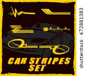 tribal and cool car stripe set... | Shutterstock .eps vector #672881383