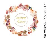 watercolor ornament with autumn ... | Shutterstock . vector #672887017