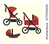 flat red baby carriage... | Shutterstock .eps vector #672920443