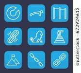 strength icon. set of 9 outline ... | Shutterstock .eps vector #672924613