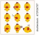 funny chicken set in different... | Shutterstock .eps vector #672926737