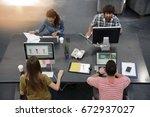 upper view of start up people... | Shutterstock . vector #672937027
