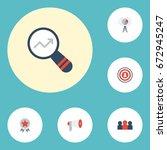flat icons statistic  market ... | Shutterstock .eps vector #672945247