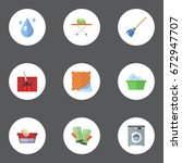 flat icons aqua  housekeeping ... | Shutterstock .eps vector #672947707