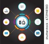 flat icons money box  bank ... | Shutterstock .eps vector #672948583